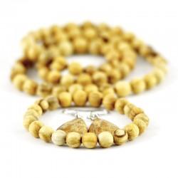 Zestaw Palo Santo: korale, bransoletka i koczyki 100% naturalna biżuteria prosto z Peru. Super pachnący prezent.